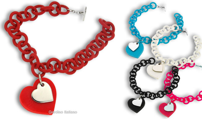 Silicon Bracelets Large Chain With Hearts